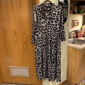 Leopard print maxi dress.